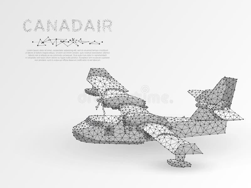 La papiroflexia diseña el avión contraincendios aéreo de Canadair llamas que luchan de los aviones de bombardero del agua en vect libre illustration