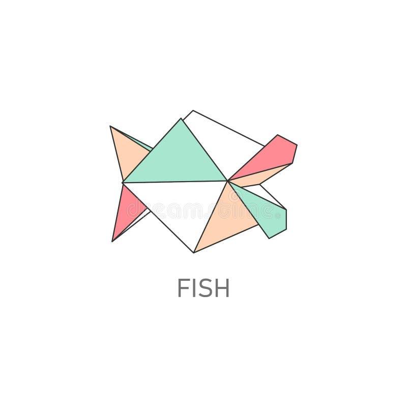 La papiroflexia dobló el ejemplo plano del vector del arte de papel de los pescados aislado en blanco libre illustration