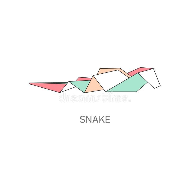 La papiroflexia dobló el ejemplo plano del vector de la serpiente animal de papel aislado en blanco stock de ilustración