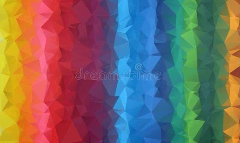 La papiroflexia polivinílica baja triangular desgreñada geométrica multicolora diseña el fondo del gráfico del ejemplo de la pend ilustración del vector