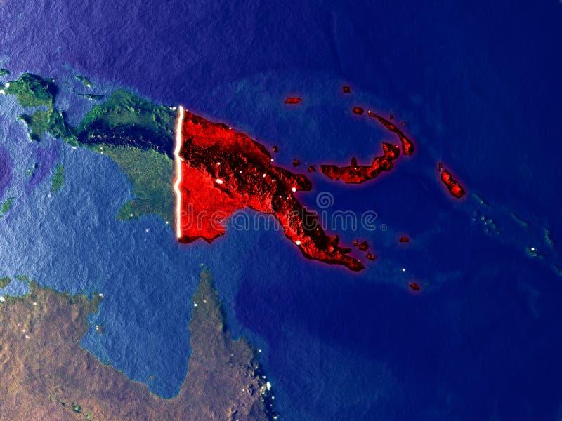 La Papouasie-Nouvelle-Guinée sur terre la nuit images stock