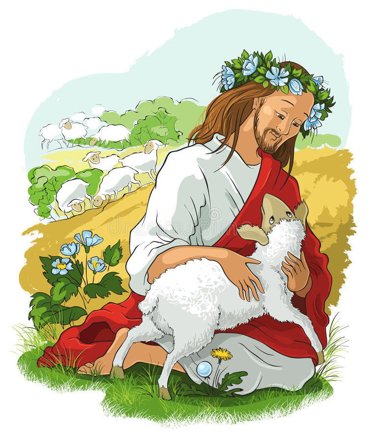 La parábola de las ovejas perdidas stock de ilustración