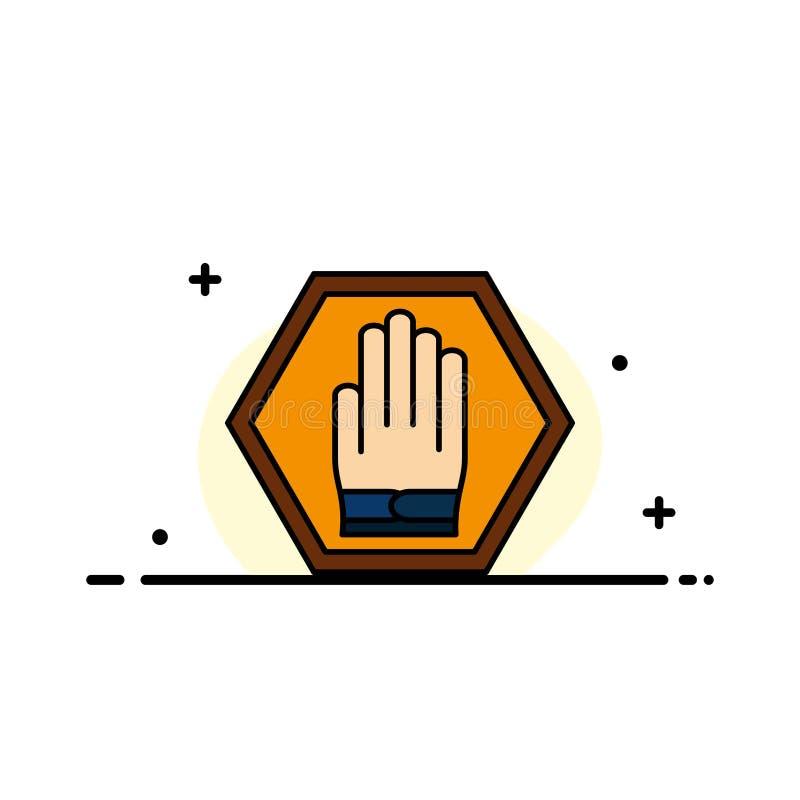 La parada, mano, muestra, tráfico, línea plana del negocio amonestador llenó la plantilla de la bandera del vector del icono stock de ilustración