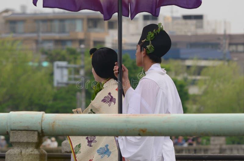 La parata del festival di Kyoto Aoi, Giappone fotografia stock libera da diritti