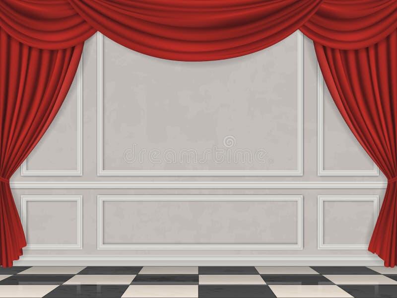 La pared adornó el piso a cuadros de los paneles que moldeaba y la cortina roja stock de ilustración