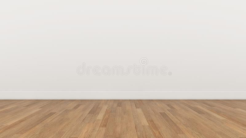 La pared blanca y el piso marrón de madera, 3d del sitio vacío rinden ilustración del vector