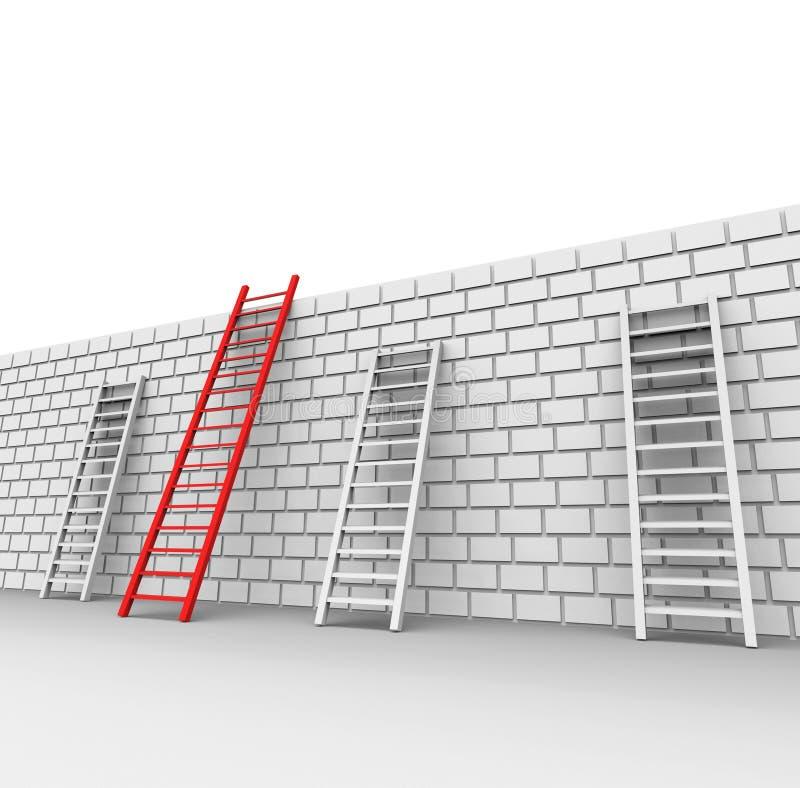 La pared de ladrillo indica Chalenges a continuación y lo bloqueó libre illustration