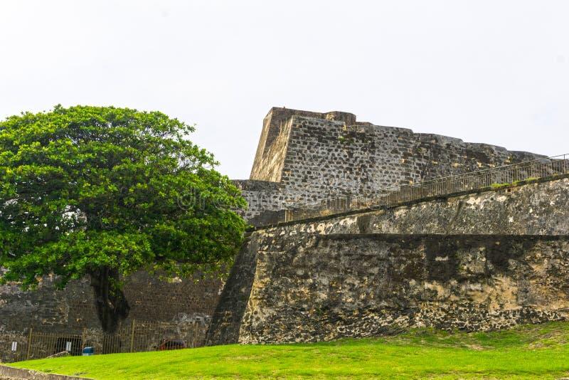La pared del fuerte San Cristobal en San Juan, Puerto Rico foto de archivo