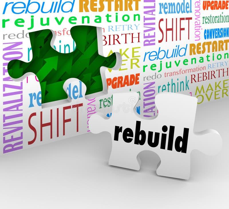 La pared del pedazo del rompecabezas de la palabra de la reconstrucción reinventa nuevo comienzo ilustración del vector