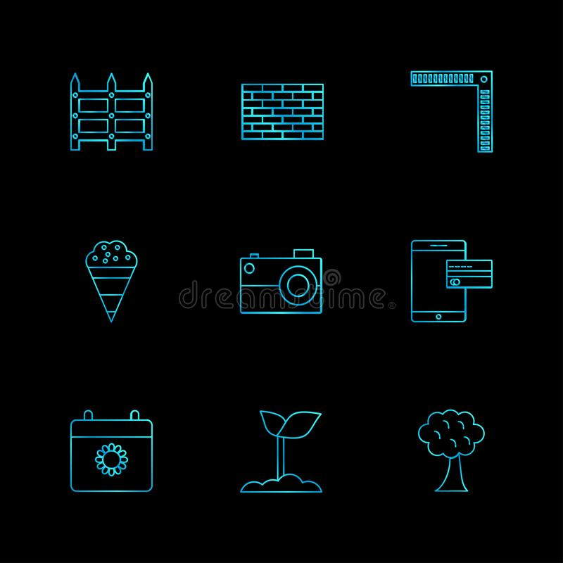 la pared, ladrillos, planta, árbol, cámara, móvil, iconos del EPS fijó a VE stock de ilustración