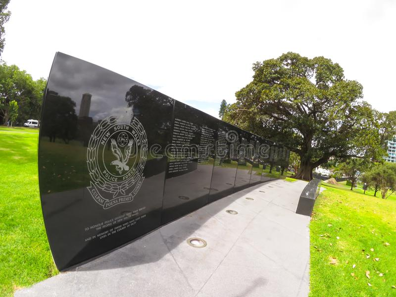 La parete del ricordo commemora gli ufficiali di polizia del Nuovo Galles del Sud che hanno servito lo stato immagine stock