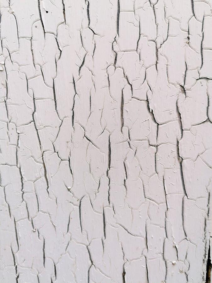 La parete ha coperto di vecchia pittura bianca incrinata fotografia stock
