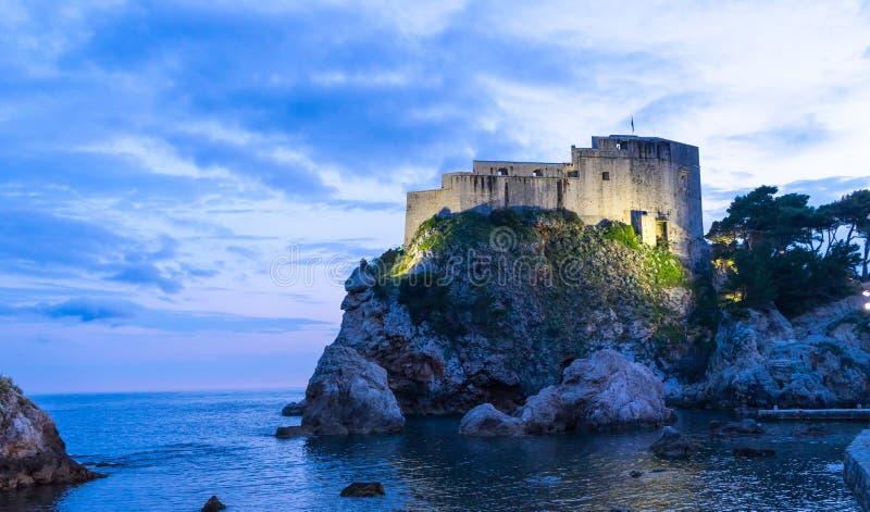 La parete storica di Ragusa Città Vecchia, Croazia Destinazione prominente di viaggio della Croazia Vecchio mondo dell'Unesco del fotografie stock