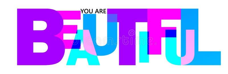 La parola bella è scritta nelle lettere dei colori differenti e delle dimensioni differenti illustrazione di stock