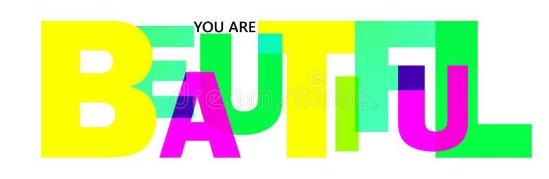 La parola bella è scritta nelle lettere dei colori differenti e delle dimensioni differenti illustrazione vettoriale
