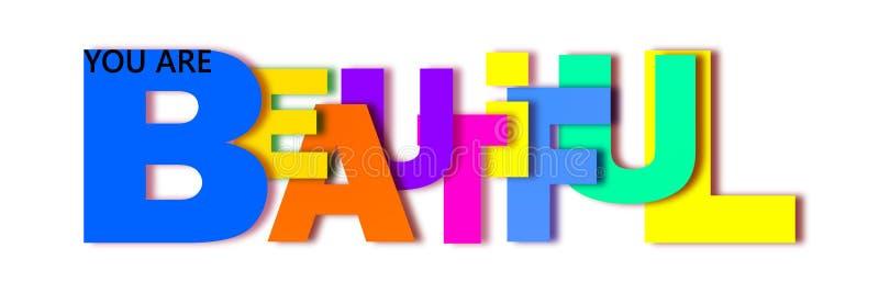 La parola bella è scritta nelle lettere dei colori differenti e delle dimensioni differenti royalty illustrazione gratis
