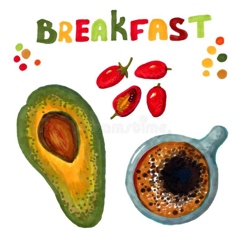 La parola 'Breakfast', piselli multicolori, quattro pomodori ciliegia rossa, una tazza di caffè forte e mezzo avocado illustrazione vettoriale
