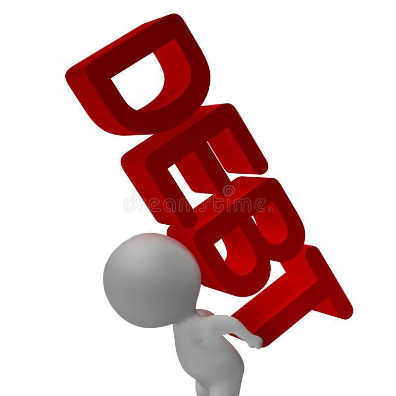 La parola di debito ed il carattere 3d mostra il fallimento e la povertà illustrazione di stock