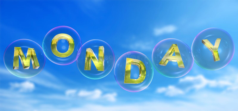 La parola di lunedì nella bolla royalty illustrazione gratis