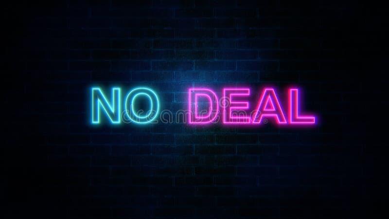 La parola nessun affare con i colori al neon sul muro di mattoni illustrazione di stock