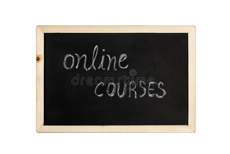 La parola online di corsi scrive in gesso su una lavagna fotografie stock