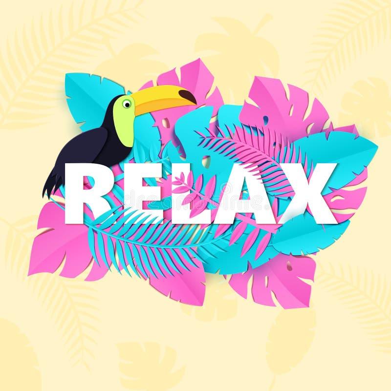 La parola SI RILASSA la composizione con il tucano rosa e blu creativo delle foglie della giungla nello stile trandy del taglio d illustrazione di stock