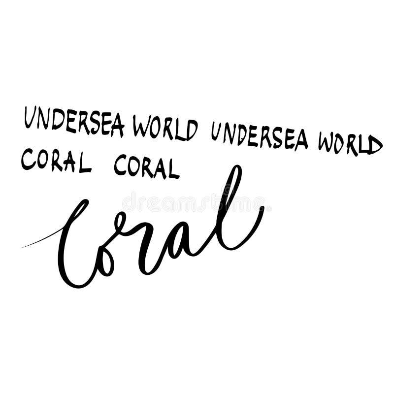 La parola subacquea, coralli passa la progettazione di iscrizione per i manifesti, le magliette, le carte, gli inviti, gli autoad illustrazione di stock