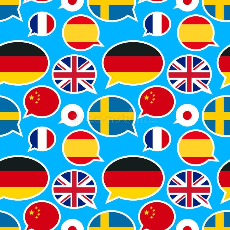 La parole bouillonne avec différents drapeaux sur le fond bleu illustration de vecteur