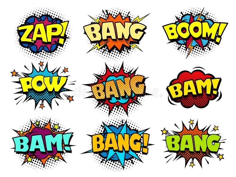 La parole de bande dessinée bouillonne, souffle et effet sonore frais d'accident illustration libre de droits