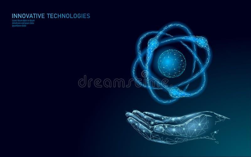 La partícula del átomo firma adentro el mapa del mundo de las manos Peligro global de las armas militares nucleares Seguridad del stock de ilustración