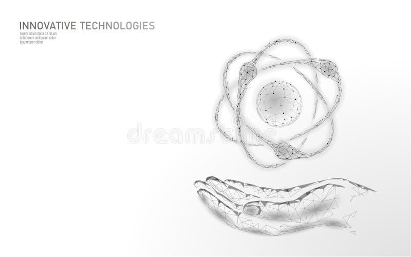 La partícula del átomo firma adentro el mapa del mundo de las manos Peligro global de las armas militares nucleares Seguridad del libre illustration