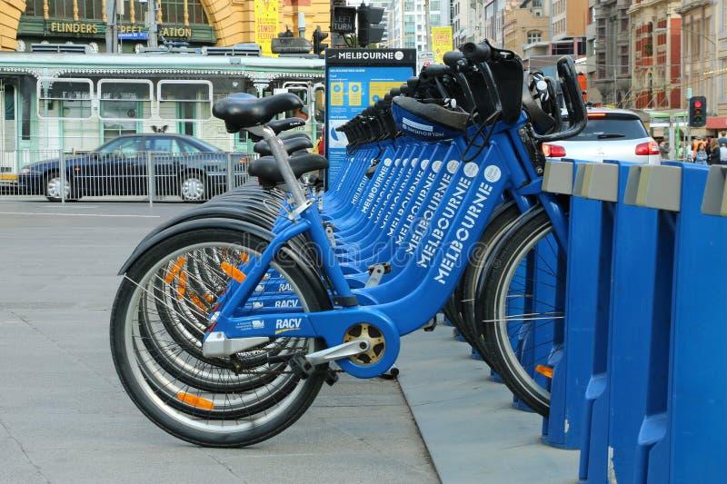 La part de vélo de Melbourne permet des 30 tours minute illimités entre les stations de train de $3 par jour photographie stock
