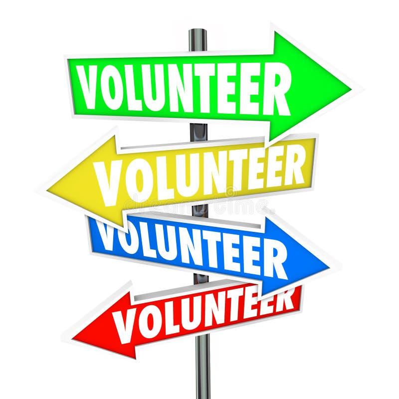 La part volontaire de signes de flèche donnent le travail de charité de temps illustration libre de droits