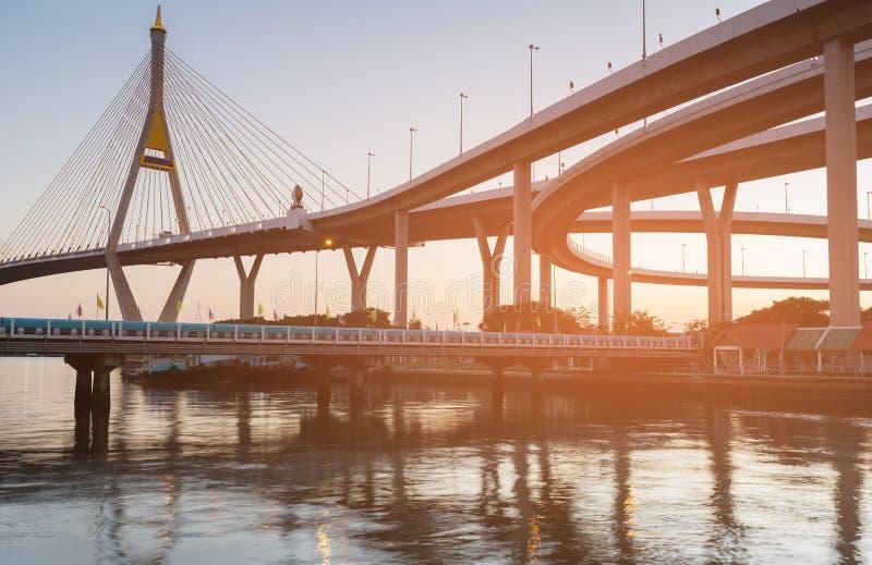 La parte anteriore del fiume del ponte sospeso si collega immagine stock