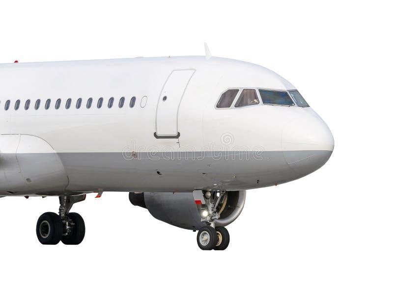 La parte anteriore del naso del velivolo con il carrello di atterraggio ha esteso isolato su fondo bianco immagine stock