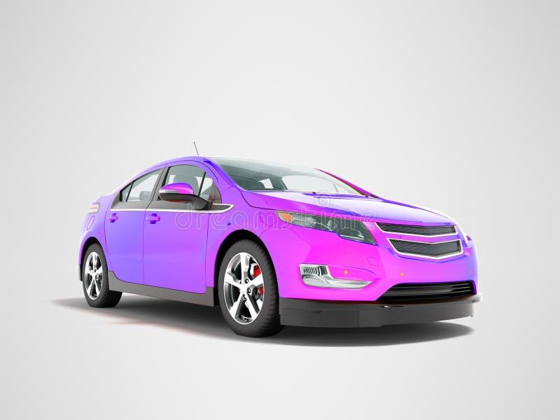 La parte anteriore porpora della miscela moderna dell'automobile elettrica da sotto 3d rende il perspe fotografia stock libera da diritti