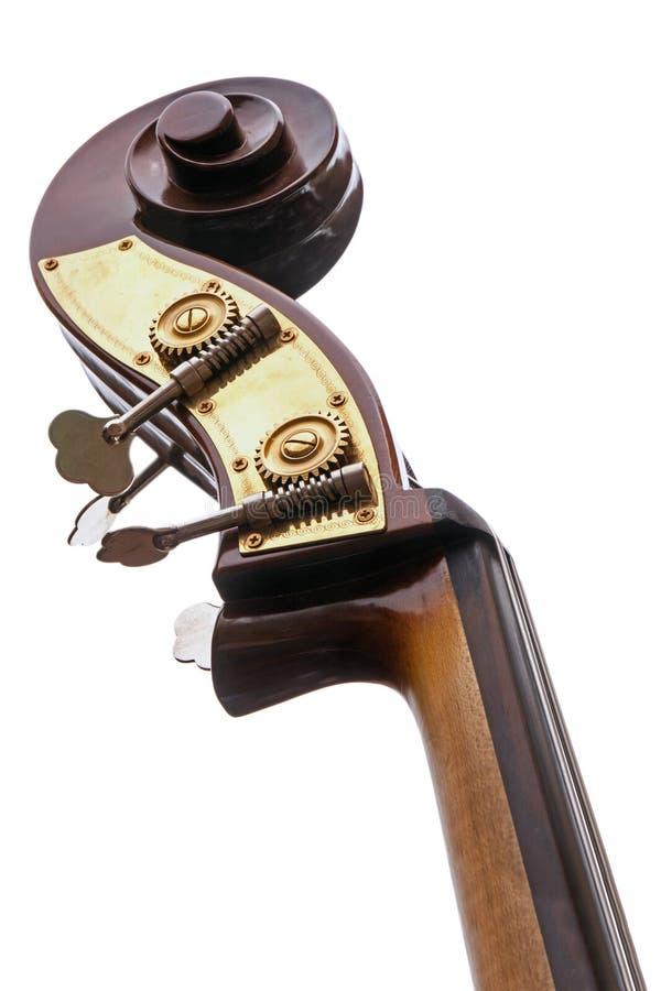 La parte de un bajo doble, instrumento musical de la familia de violín solated en un fondo blanco imágenes de archivo libres de regalías