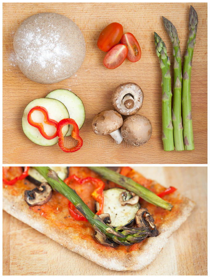 La parte del hogar hizo la pizza sana imagen de archivo libre de regalías
