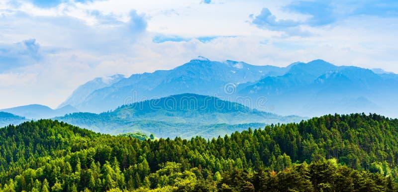 La parte del massiccio di Postavarul delle montagne di Carpathians del rumeno ha funzionato fotografie stock libere da diritti