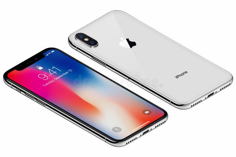 La parte delantera del iPhone X de plata isométrico de Apple con IOS 11 lockscreen y lado trasero aislado en el fondo blanco imagenes de archivo