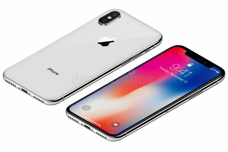 La parte delantera del iPhone X de plata isométrico de Apple con IOS 11 lockscreen y lado trasero aislado en el fondo blanco imagen de archivo
