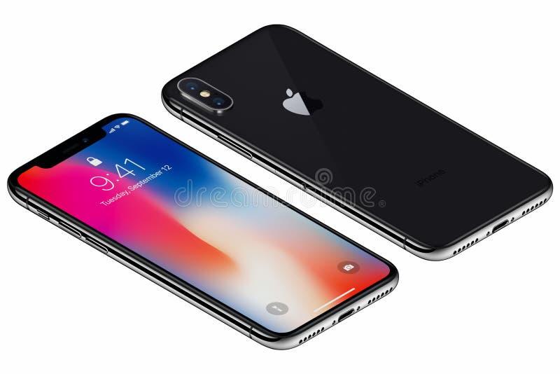 La parte delantera del iPhone X isométrico de Gray Apple del espacio con IOS 11 lockscreen y lado trasero aislado en el fondo bla fotos de archivo libres de regalías