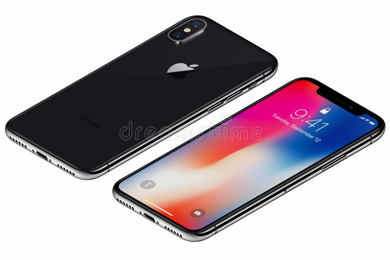 La parte delantera del iPhone X isométrico de Gray Apple del espacio con IOS 11 lockscreen y lado trasero aislado en el fondo bla fotografía de archivo