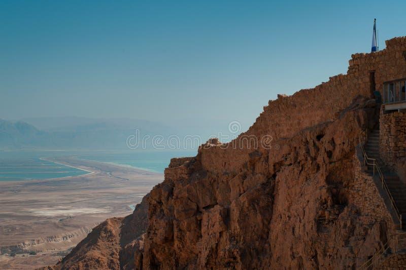 La parte della parete della fortezza Masada fotografia stock libera da diritti