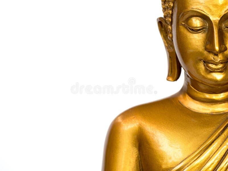 La parte della statua antica dorata di Buddha del fronte sui precedenti bianchi ha isolato il fondo Il fronte del Buddha è fa dir immagini stock