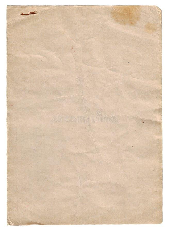 La parte di vecchio documento ha isolato immagine stock