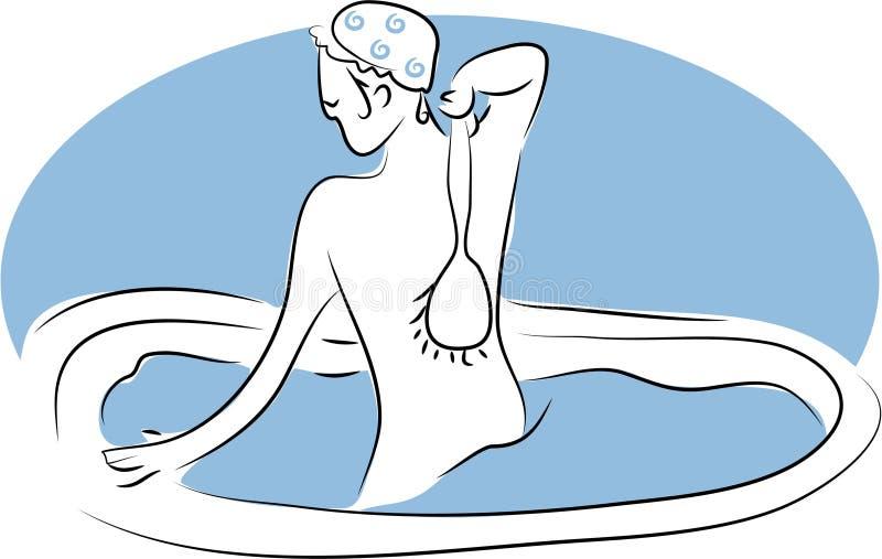 La parte posterior friega stock de ilustración