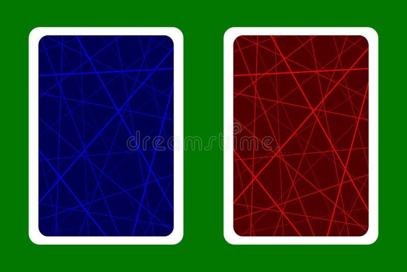 La parte posteriore di carta da gioco progetta - le linee caotiche casuali sottraggono il modello geometrico - blu e rosso royalty illustrazione gratis