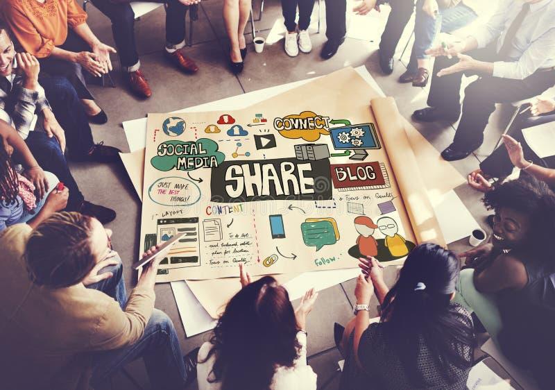 La parte que comparte la reacción de la comunicación conecta concepto imagen de archivo libre de regalías
