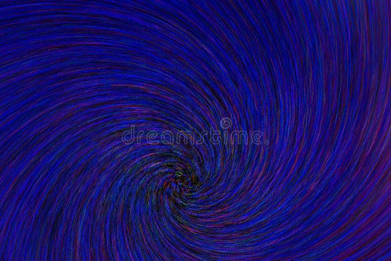 La parte radial natural de la explosión del remolino del vuelta-enfoque de la lente empañó puntos azulverdes rojos en fondo negro stock de ilustración